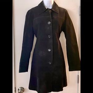 Genuine Suede Vintage Style Black Trench Coat